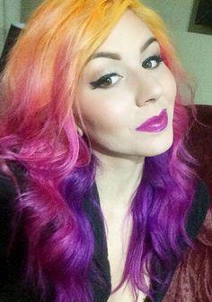 Yellow pink purple dyed hair @annaleebelle
