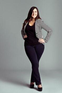 ** Simply fit! Stripy blazer.  For extra inbetweenie and plus measurement inspiration, go to www.dressi...