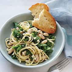 Linguine with Garlicky Kale and White Beans | MyRecipes.com