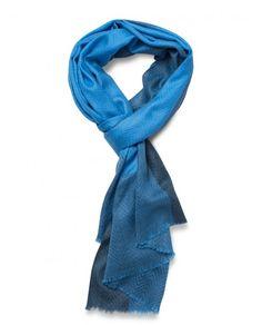 Merino-Silk Blend Herringbone Weave Scarf in Blue - Qind Design Woven Scarves, Blanket Scarf, Herringbone, Weave, Cashmere, Silk, Blue, Stuff To Buy, Design