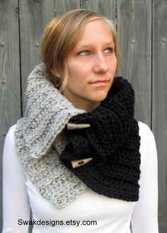 Chunky Cowl - Hooded Cowl with Horns, Hooded Scarf - Black Gray or CHOOSE Your Colors