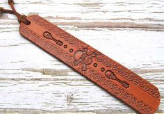 Skull Leather Bookmark-Tooled Leather Bookmark-Skull and