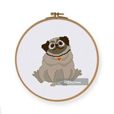 ThuaHaDesign Ritacuna Pug cross stitch pattern - Funny puppy dog design Floss: DMC Colors: 9 Stitch size: 77 x 78 * Suggested fabric and size: Fabric: 14 count Designed area: 5.50 x 5.57 ------------------ PDF pattern contains: – Floss Palette – Color Symbol Chart – Black and White Symbol Chart