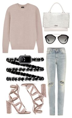 """77."" by piamb ❤ liked on Polyvore featuring Gianvito Rossi, Yves Saint Laurent, Joseph, Givenchy, Prada and Chanel"