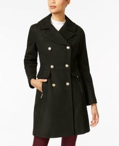 Vince Camuto Double-Breasted Peacoat - Green XXL