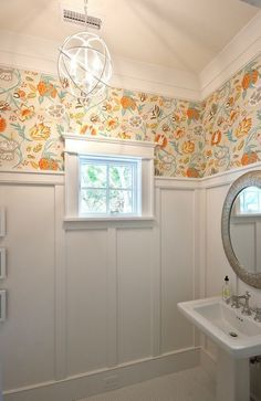 "When you want a colorful pattern but don't want to cover the whole wall. South Carolina Elevated Beach House - ""Powder Room Wallpaper"" (Thibaut Cayman wallpaper - in Cream and Aqua) Powder Room Wallpaper, Bathroom Wallpaper, Wallpaper In Bathroom, Unique Wallpaper, Of Wallpaper, Wallpaper Ideas, Vintage Modern, Wainscoting Bathroom, Wainscoting Ideas"