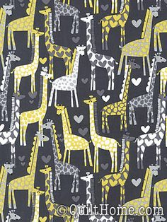 adorable gray and yellow giraffe fabric