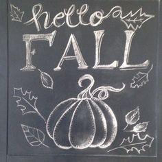 Fall leaves pumpkin chalkboard art