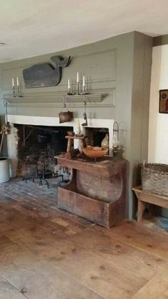9 Miraculous Useful Tips: Modern Country Fireplace fireplace candles master bath.Fireplace And Mantels Family Rooms hanging fireplace screen.Fireplace Garden Home Decor. Decor, Old Fireplace, Primitive Homes, Fireplace Garden, Affordable Home Decor, Colonial House, Colonial Decor, Primitive Fireplace, Fireplace