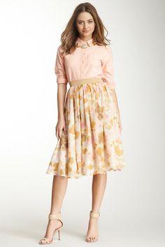 Gathered Print Skirt