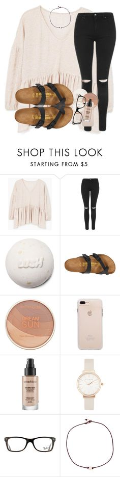"""""""HAVE YALL SEEN THE EXTRA GUM COMMERICAL"""" by madiweeksss ❤ liked on Polyvore featuring MANGO, Topshop, Birkenstock, Maybelline, Smashbox, Olivia Burton, Ray-Ban and Riah Fashion"""