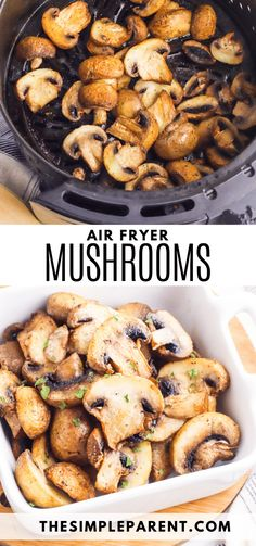 Make air fryer mushrooms for an easy and delicious vegetable side dish! Air fried mushrooms pair great with so many meals, especially steak! Mushroom Side Dishes, Easy Vegetable Side Dishes, Side Dishes Easy, Side Dish Recipes, Main Dishes, Fried Mushrooms, Mushrooms For Steak, Stuffed Mushrooms, Air Fryer Recipes