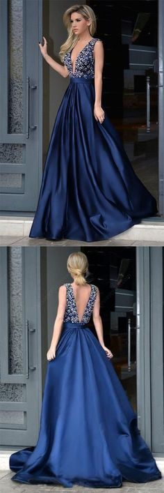 Glamorous A-Line Deep V-Neck Royal Blue Long Beading Prom Dresses With Sweep Train #royalblue #long #prom #beading #sweeptrain #Glamorous #okdresses