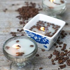 Coffee DIY Candles | HelloNatural.co This website has healthy reicpes. Recipes for beauty, cleaning.  HELLO NATURAL!  <3