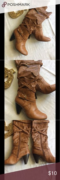 Brown Vegan Leather Boots Cute belted details on these warm brown boots. Pre-loved with minor flaws as seen in photos. Slight heel, side zip. Rue 21 Shoes Heeled Boots