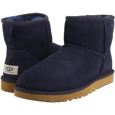 UGG Classic Mini (Navy) Women's Pull-on Boots ($114) ❤ liked on Polyvore featuring shoes, boots, ankle boots, navy, bootie boots, short boots, faux-fur boots, faux fur boots and navy blue boots