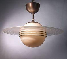 "Art Deco ""Saturn"" Ceiling Light Design by Edvard Hald; Art Nouveau, Vintage Lamps, Vintage Lighting, Antique Lamps, Retro Vintage, Art Deco Design, Lamp Design, Design Design, Design Table"