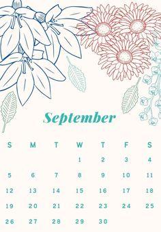Floral September 2021 Desk Calendar September Calendar, 12 Month Calendar, Cute Calendar, Print Calendar, Kids Calendar, 2019 Calendar, Desk Calendars, Monthly Calendars, September Flowers
