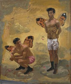 Two men with butterfly wings, black shoes, 1965 by Yannis Tsarouchis. Art Gay, Greek Paintings, A Kind Of Magic, Original Paintings For Sale, Queer Art, Art Of Man, Acrylic Wall Art, Couple Drawings, Two Men