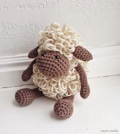 Sweet little amigurumi sheep! Links to free crochet pattern to make him yourself.