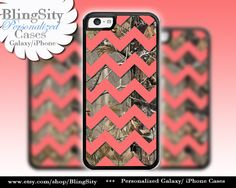Monogram Iphone 5C case Camo Coral Chevron iPhone 5s iPhone 4 case Ipod 4 5 case Real Tree Personalized Country Inspired Girl by BlingSity