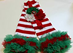 Christmas Leg Warmers and Headband set. Baby Headband and Leg Warmers.Shabby Chic Headband,Baby Girl Headband and Leggins set.. $12.95, via Etsy.