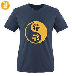 Comedy Shirts - YIN YANG - PFOTE 2 - Herren V-Neck T-Shirt - Navy / Gelb Gr. L - Shirts mit spruch (*Partner-Link)
