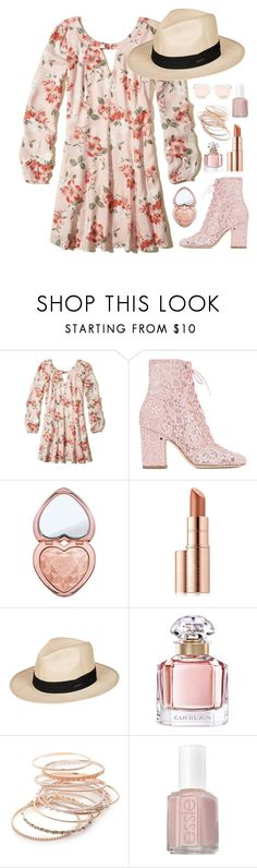 """""""Untitled #447"""" by isabellefashion23 ❤ liked on Polyvore featuring Hollister Co., Laurence Dacade, Too Faced Cosmetics, Estée Lauder, Roxy, Guerlain, Red Camel, Essie and Quay"""