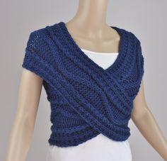 Mano cruzada suéter de punto / chaleco / capa cuello cálido en