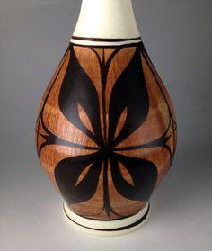 Vintage turned wood hawaiian monkey pod vase monkey for Mid century modern furniture hawaii