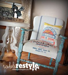 Robb Restyle: Feed Sack Chair Makeover