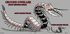This type of grimms can be seen in the desert areas NOTE: (The adult Ground Weller is the first grimm that appeared in my Grimm Slayer Trailer screensho. RWBY X OC Ground Weller Monster Concept Art, Fantasy Monster, Monster Art, Alien Creatures, Fantasy Creatures, Mythical Creatures, Creature Feature, Creature Design, Rwby Grimm