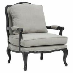 "A perfect addition to your living room or den, this French Regency-style accent chair showcases a wood frame and gray linen-upholstered cushions.  Product: ChairConstruction Material: Wood and linenColor: Gray and blackDimensions: 39.75"" H x 31"" W x 33.75"" DCleaning and Care: Spot clean only"