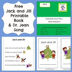 Free Printable Jack and Jill Book, Charts, and Song from Dr. Jean via www.pre-kpages.com