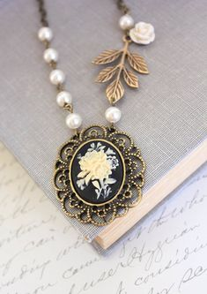 Flower Cameo Necklace Black Cameo Pendant Ivory Cream Rose Necklace Branch Leaves Cream Pearl Chain Romantic For Her