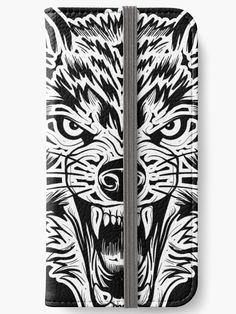 'Wolf Face' iPhone Wallet by EddieBalevo Laptop Cases, Phone Cases, Wall Tapestries, Tapestry, Throw Blankets, Throw Pillows, Angry Wolf, Wolf Face, Wild Forest
