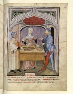 Merchant of salted fish, Tacuinum Sanitatis (BNF NAL fol. blue veil or just artistic license Medieval Market, Medieval Books, Medieval World, Medieval Manuscript, Illuminated Manuscript, Medieval Fashion, Medieval Clothing, Historical Clothing, Illustrations Vintage