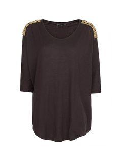MANGO - Embellished shoulders blouse