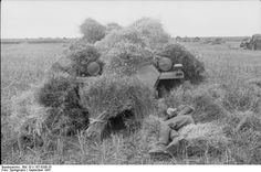 Crew member of a Sd.Kfz. 251 Ausf. C having a nap close to his heavily camouflaged half-track, Sept. '41.