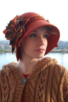 Nutmeg Cloche with tweed flower by RedDragonflyAKATOMBO on Etsy, Can I have? Please!