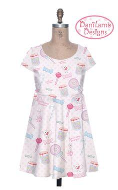 Candy Dress Sweets Fairy Kei Cap Sleeve Dress by DaniLambDesigns