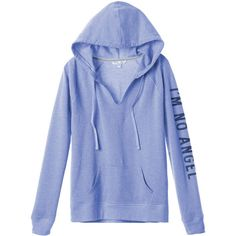 Victoria's Secret Hooded Tunic ($70) ❤ liked on Polyvore featuring tops, outerwear, sweaters, v-neck tops, v neck tops, blue top, raglan top and oversized tops