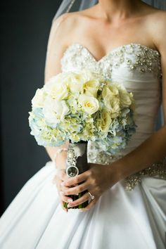 White rose and hydrangea bouquet.