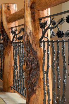 Log Posts and Top Rail with Metal Branch and Pine Cone Balusters