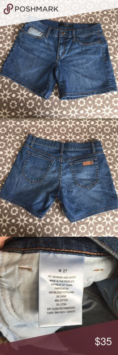 Joe's denim shorts Cute shorts! Tight fit hugs the thighs and makes your butt look nice! can roll up for shorter look or leave as normal. Only worn twice, FANTASTIC condition. Like new! Size W 27 Joe's Jeans Shorts Jean Shorts