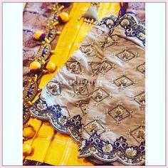 Zardosi Embroidery, Hand Embroidery Dress, Beaded Embroidery, New Mehndi Designs, Hand Designs, Drape Sarees, Wedding Saree Blouse Designs, Maggam Work Designs, Long Dress Design