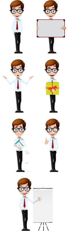 Business boy vector character designed in 7 moods and poses. This cheerful boy vector will produce warm and friendly look to your projects. Grab all vector file