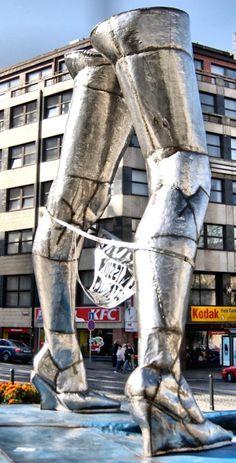 Prague, Czech Republic. Street sculpture ... legs, heels and panties in metal.