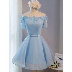 Elegant Ice Blue Homecoming Dresses, Princess Off-the-shoulder Homecoming Dress with a Feminine Bow, Satin Organza Homecoming Dresses, #020102547