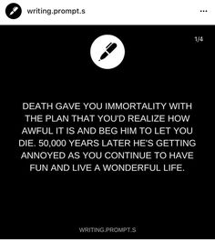 And e tryes to make your life miserable but is making it more fun and in the end you find out in the end he is lonely and end up falling in love with death